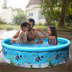 Imagem de piscina familiar, Baugger Piscina portátil de plástico rígido sem inflação Piscina dobrável para família Piscina redonda para bebês e crianças adultos