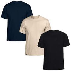 Imagem de Kit com 3 Camisetas Básicas de Algodão Masculinas Slim Tee T-Shirt – Slim Fitness Fashion -  - Bege - Marinho – EGG
