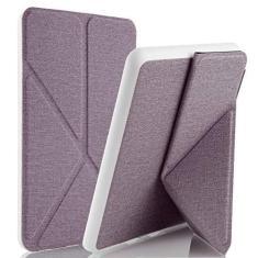 Imagem de Capa Kindle Paperwhite, WB, Origami Auto Hibernação, Sensor Magnético, Silicone Flexível, Estilo Tecido, Lilás