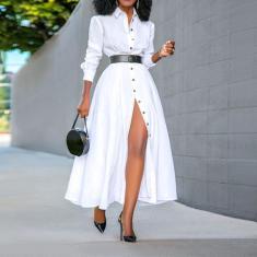 Imagem de Vestido longo feminino estilo ol manga comprida lapela botão para baixo vestido de camisa escritório formal vestidos longos Robe Femme  5XL