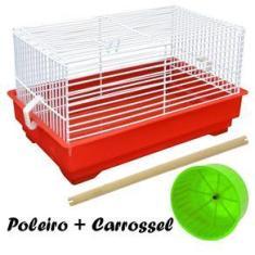 Imagem de Gaiola Transporte com poleiro e carrosel para Pássaros, Hamster e outros Roedores