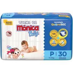 Imagem de Fralda Turma da Mônica Baby Quatrosec Tamanho P 30 Unidades Peso Indicado 3 - 6kg