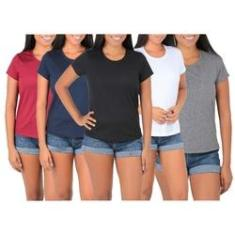 Imagem de Kit 5 Camisetas Femininas Atacado Blusa Camisa Baby Look Básica