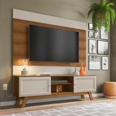 Imagem de Conjunto Rack Com Painel Para Tv Até 60 Polegadas Ema Retrô Yescasa Freijó/Off White