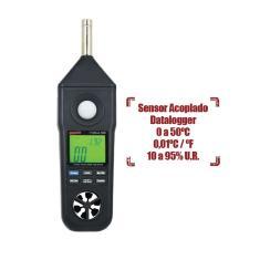 Imagem de Termômetro Higrômetro Decibelímetro Luxímetro Anemômetro Temperatura THDLA-500 Com Certificado Instrutherm