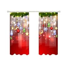 Imagem de BAOLI Cortinas de janela, 2 tamanhos de tema de Natal meia sombra cortina de Natal, cortina de decoração de Natal para casa