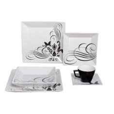 Aparelho de Jantar Quadrado de Porcelana 30 peças - Quartier Tattoo Oxford Porcelanas