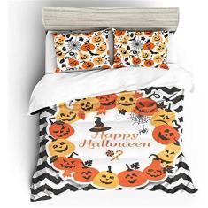 Imagem de PJPPJH Conjunto de capa de edredom de Halloween, conjunto de cama estampado em 3D, capa de colcha com fronhas e capa de colcha