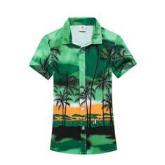 Imagem de Mulheres Homens de manga curta camisa da praia de Coqueiro Impresso Tops Botão Shirts