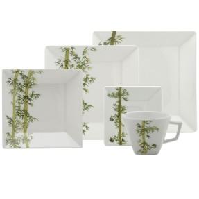 Aparelho de Jantar Quadrado de Porcelana 20 peças - Quartier Bamboo Oxford Porcelanas