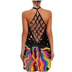 Imagem de Vestido feminino sem mangas com estampa floral de verão sem mangas vestido de verão vazado frente única, , XXG