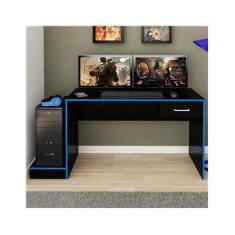 Mesa Gamer Stone Ideal Para 2 Monitores Preto/azul - Pnr Móveis