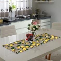 Imagem de Caminho De Mesa Estampado Limão Siciliano Bege 0.40 X 1.40