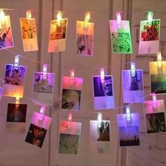Imagem de Cordão De Luz Colorido Led Pilha Varal 10 Prendedor De Fotos
