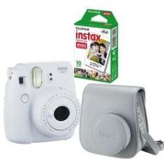 Kit câmera Instantânea Fujifilm Instax mini 9 BRANCO GELO + estojo + filme com 10 fotos