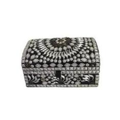 Imagem de Caixa Porta Jóias com Divisórias Metal e Pedras