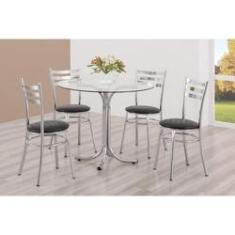Imagem de Conjunto Mesa Redonda Tampo de Vidro e 4 Cadeiras Assento Estofado Unimóvel Cromado/