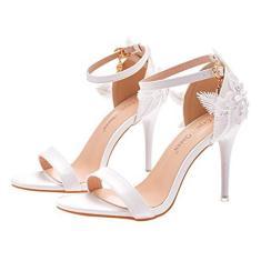 Imagem de Holibanna Sandálias femininas elegantes de salto alto stiletto bico aberto com fivelas, sapatos de casamento para mulheres, noivas, , 7