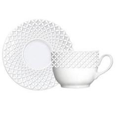 Imagem de Cj. 6 Xícaras de Chá com Pires Porcelana Capri Bianco Germer