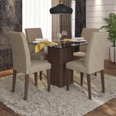Imagem de Conjunto Sala De Jantar Chile De Vidro 4 Cadeiras - Móveis Arapongas
