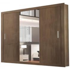 Guarda-Roupa Casal 3 Portas 4 Gavetas com Espelho Gênesis Espresso Moveis
