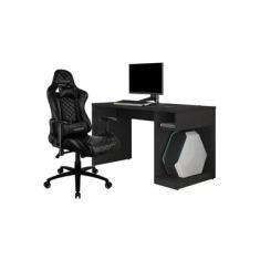 Kit Mesa Para PC Gamer Legend com Cadeira Gamer TGC12 H01 ThunderX3 Preto - Lyam Decor