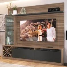 """Imagem de Rack com Painel TV 50"""" 1 Porta Vidro Montana Grafite Lilies"""