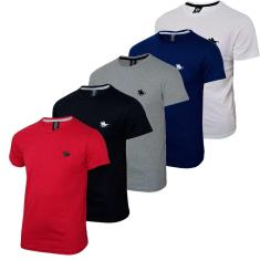 Imagem de Kit  05 Camisetas Masculinas Blusa Camisa Slim Lisa Basic