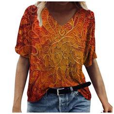 Imagem de Camiseta feminina boêmia, com estampa de girassol, gola V, meia manga, casual, plus size blusa, Laranja, XXG