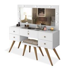 Imagem de Penteadeira Camarim Retrô Com Espelho, Led, Porta Objetos E Banqueta Nevada Branco