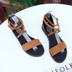 Imagem de Sandálias femininas de salto plano aberto na ponta dos pés e confortáveis sapatos de verão combinados