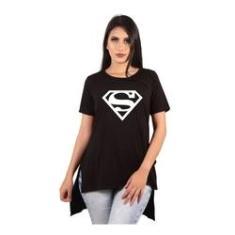 Imagem de Camiseta Long Feminina Estampada Alongada Roupa Superman