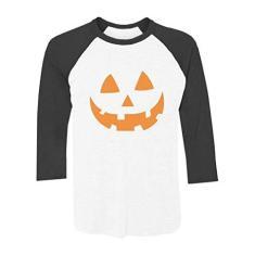 Imagem de Camisa de beisebol de manga 3/4 com rosto de abóbora laranja Jack O' Lantern, /, XXL