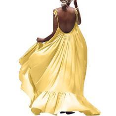 Imagem de SLENDIPLUS Vestido longo feminino de verão boêmio, sem mangas, costas nuas, praia, costas nuas, vestido longo para festa de verão, , XXG
