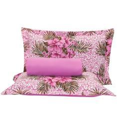 Imagem de Jogo de Cama Munique Floral Púrpura Queen 03 Peças - Percal 120 Fios