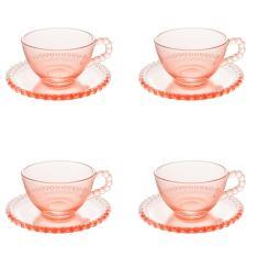 Imagem de Jogo xícaras de chá em cristal Wolff Pearl 180ml 4 peças rosa