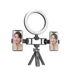 Imagem de Suporte Duplo Celular com Iluminação Tripé Fill Ring Light Luz Led Ao vivo Selfie Live