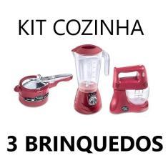 Imagem de Kit Cozinha Infantil com 3 Brinquedos s Batedeira, Liquidificador e Panela de Pressão