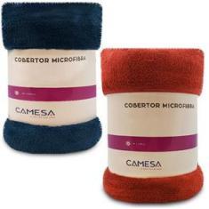Imagem de Kit 2 Manta Cobertor Casal 180x220cm Microfibra Soft Macia Fleece Camesa - Emcompre