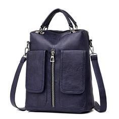 Imagem de QOHNK Mochila feminina casual com bolso duplo, grande capacidade, bolsa escolar para meninas, bolsa de ombro de couro para mulheres, , 13 Inches
