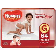 Fralda Huggies Turma da Mônica Supreme Care Xtra-Flex Tamanho G Hiper 64 Unidades Peso Indicado 9 - 12,5kg