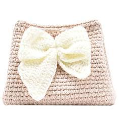 Imagem de ABOOFANSaco de tecido feito à mão de 1 peça Saco de lã com arco Saco de ombro com cordão Saco feminino Party Decor Gifts