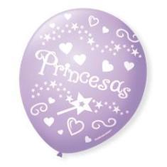 Imagem de Bexiga Balões Tema Nº 9 Princesas Lilás - 25 Unid