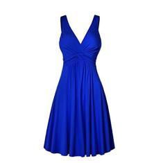 Imagem de Vestido feminino plus size com decote em V, retrô, plissado, saia rodada, vestido de sol para mulheres, festa casual, , XXG