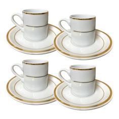 Imagem de Jogo Xicara De Café 4 Peças 2 Filetes Ouro Porcelana 10
