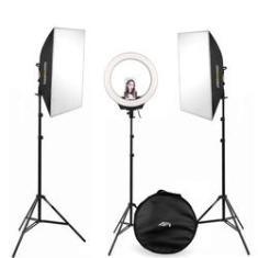 Imagem de Luz de estúdio LED Softbox com Iluminador e Ring Light