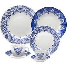 Aparelho de Jantar Redondo de Porcelana 42 peças - Flamingo Milano Oxford Porcelanas