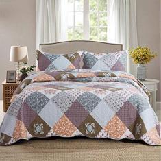 Imagem de NEWLAKE Conjuntos de colcha - Conjunto de coberta reversível com estampa xadrez floral, tamanho king