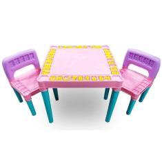 Imagem de Mesa Infantil Educativa Desmontável Com 2 Cadeiras - Meninas