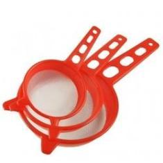 Imagem de Kit 3 Peneiras Cozinha Coar Sucos Sopas Plástico - Peneira P M G